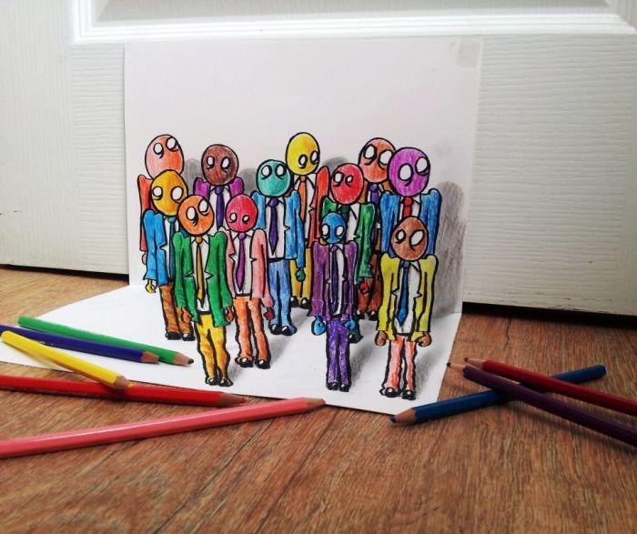 3D рисунки на плоской бумаге.