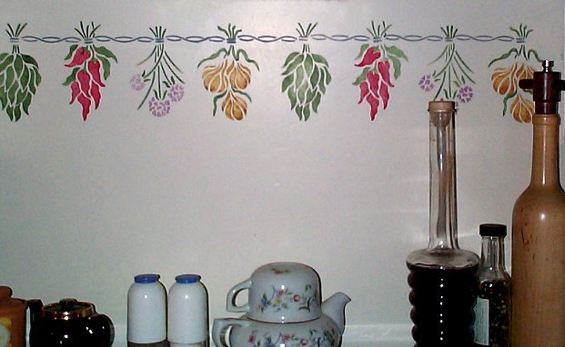 Трафареты для стен на кухне своими руками 998