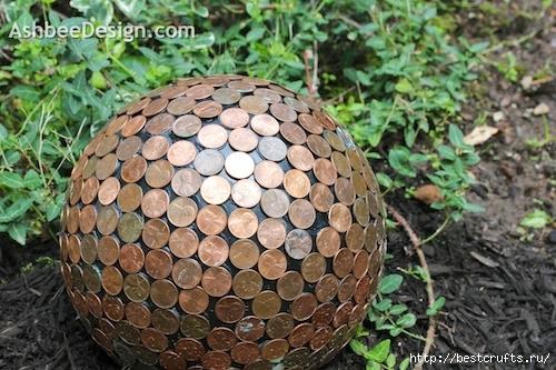 Идея для сада. Монетный шар, мозаика монетами (1) (500x333, 177Kb)