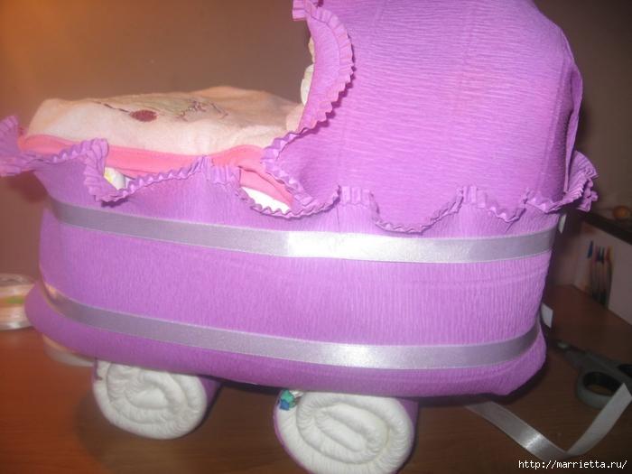 Подарок для новорожденного. КОЛЯСКА ИЗ ПАМПЕРСОВ. Мастер-класс (41) (700x525, 233Kb)