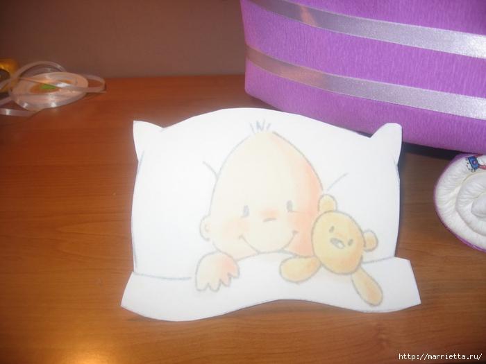 Подарок для новорожденного. КОЛЯСКА ИЗ ПАМПЕРСОВ. Мастер-класс (47) (700x525, 198Kb)