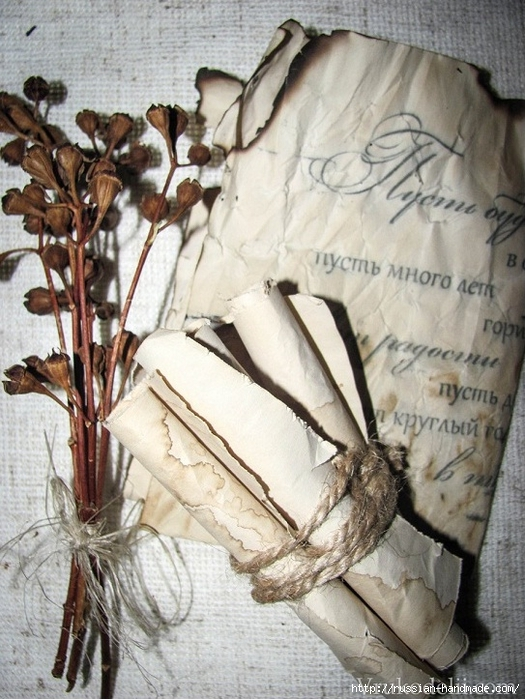Цветы из бумаги. Как состарить бумагу для винтажных работ (2) (525x700, 309Kb)