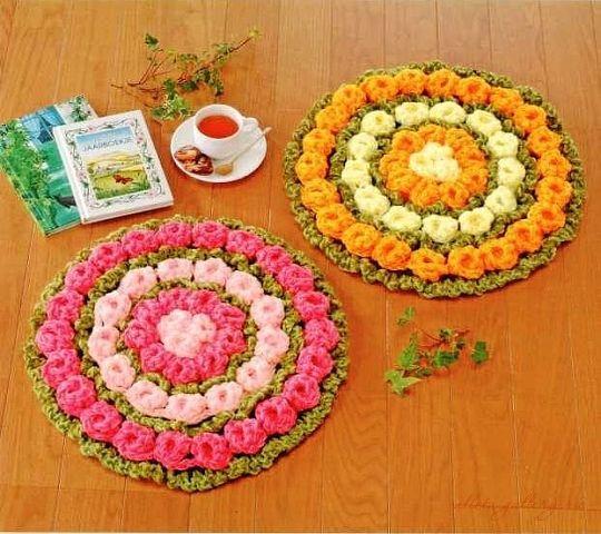 Вязание крючком ковриков из японских журналов с
