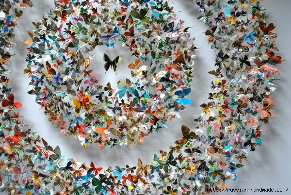 Бумажные бабочки в интерьере. Шаблон бабочки (5) (600x402, 307Kb)
