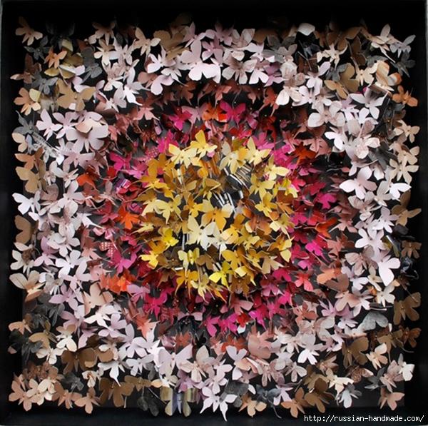 Бумажные бабочки в интерьере. Шаблон бабочки (22) (600x597, 375Kb)