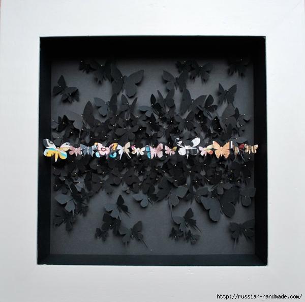 Бумажные бабочки в интерьере. Шаблон бабочки (28) (600x594, 176Kb)