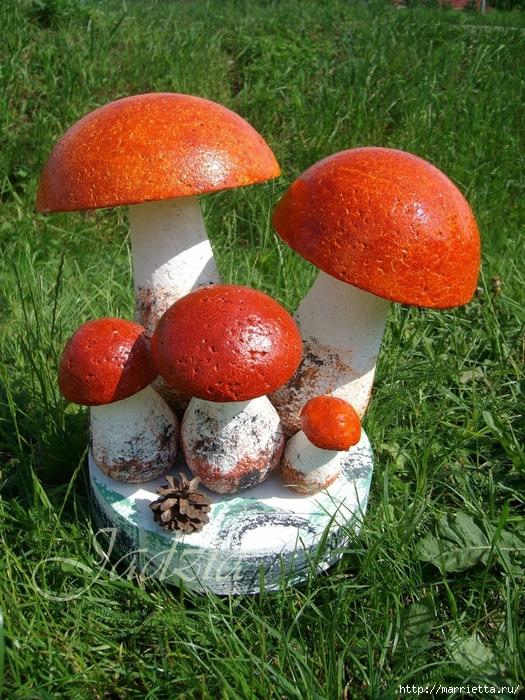 Как сделать грибочки из пенопласта и монтажной пены (2) (525x700, 417Kb)