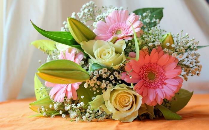 Flowers composition bouquet roses lilies gerbera flower 1920x1200