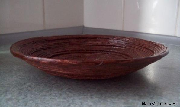Плетение из газет. Поделки из колечек и тарелка из трубочек (3) (596x354, 92Kb)