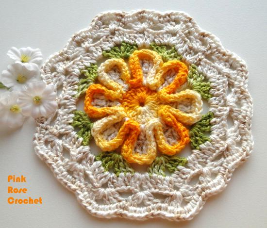 Цветочный мотив крючком для вязания пледов, шалей, покрывала и подушек (2) (550x470, 472Kb)