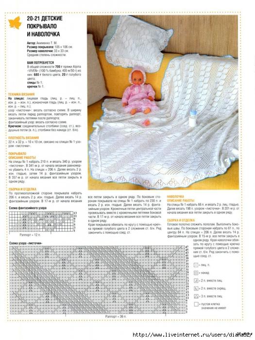 Вяжем спицами плед для новорожденных с описанием