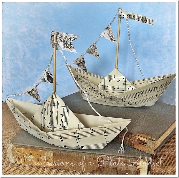 Кораблик из нотных страниц. Видео, как сложить кораблик оригами (4) (625x624, 318Kb)