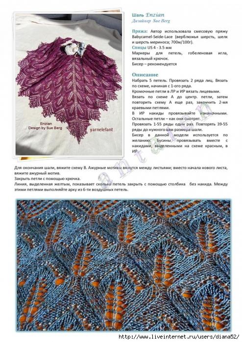 Вязание на спицах шалей и палантинов