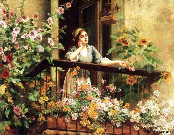 daydreaming Daniel Ridgway Knight A Pensive Moment (601x468, 256Kb)