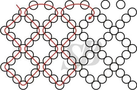 схема плетения из бисера недавно набрела в инете на схему сетки, там было 1,5 ячейки.