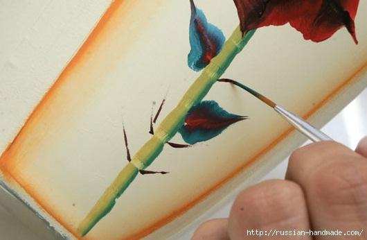 Роспись стеклянной вазы для ванной комнаты. Фото мастер-класс (12) (530x346, 96Kb)