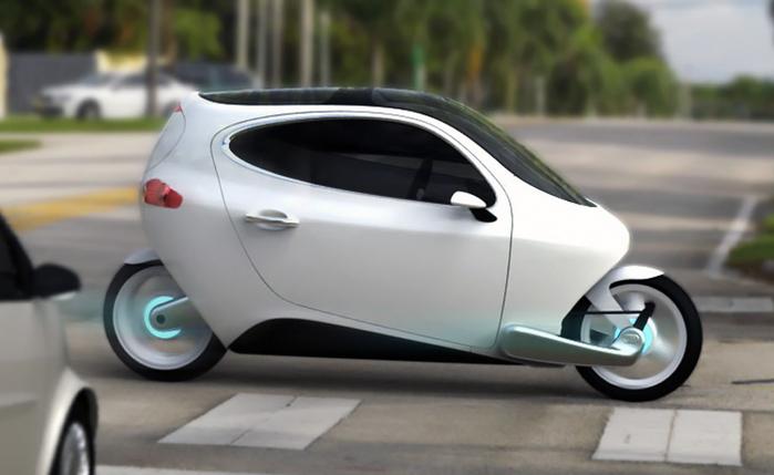 Motors' C-1 electric гибрид мотоцикла и автомобиля фото (700x429, 263Kb)