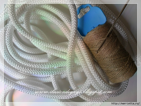 Корзинка из нейлоновой веревки и шпагата. Мастер-класс (6) (600x450, 235Kb)