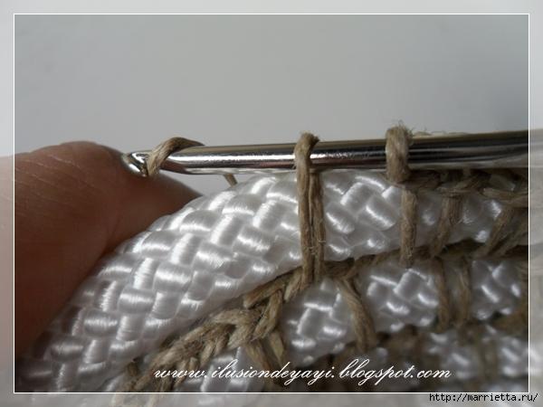 Корзинка из нейлоновой веревки и шпагата. Мастер-класс (12) (600x450, 168Kb)