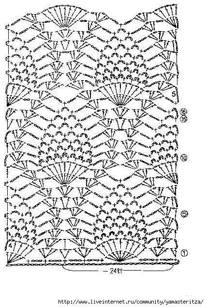 платья крючком ананасы схема 2