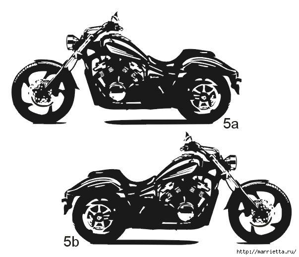 шаблоны ретро автомобилей и мотоциклов для стены (4) (603x518, 110Kb)