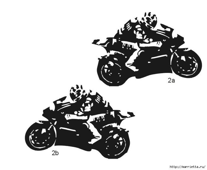 шаблоны ретро автомобилей и мотоциклов для стены (8) (700x576, 113Kb)