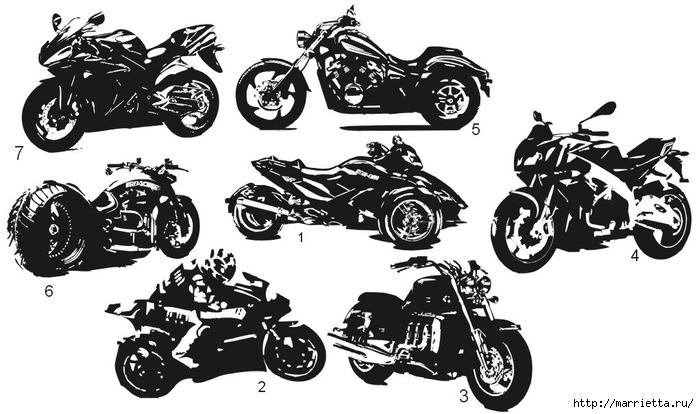шаблоны ретро автомобилей и мотоциклов для стены (10) (700x414, 178Kb)