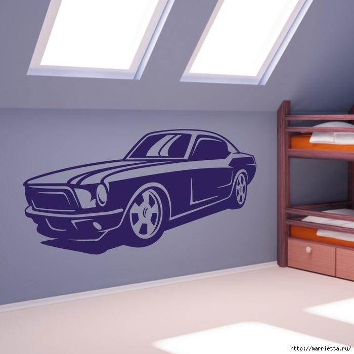 шаблоны ретро автомобилей и мотоциклов для стены (12) (700x700, 175Kb)