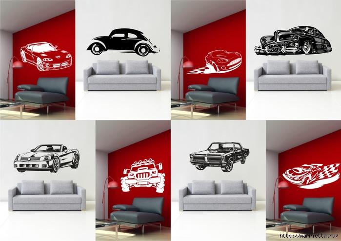 шаблоны ретро автомобилей и мотоциклов для стены (1) (700x494, 203Kb)
