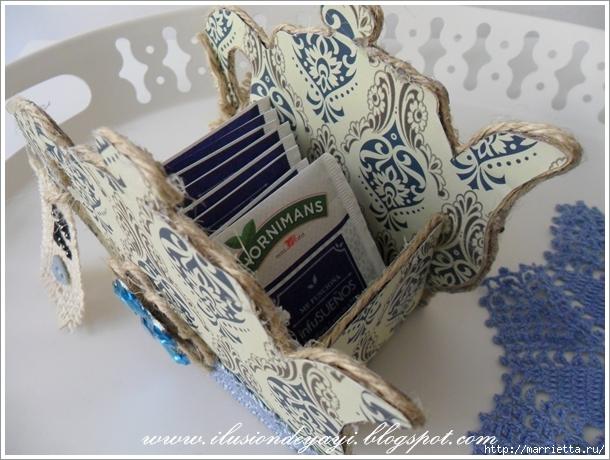 Вазочка ЧАЙНИК из картона для чайных пакетиков. Мастер-класс (3) (610x460, 235Kb)
