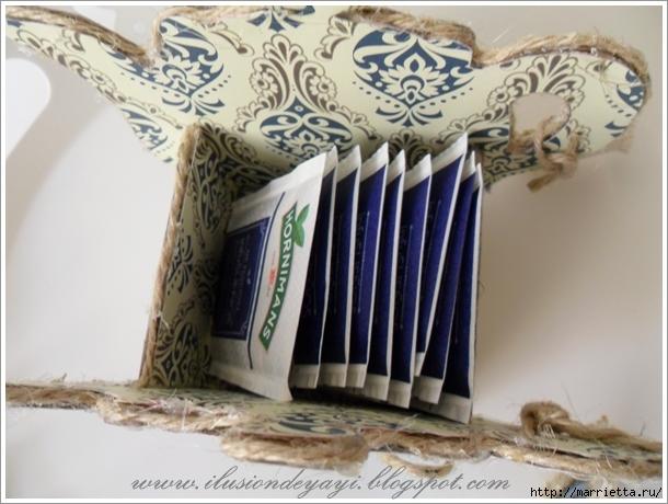 Вазочка ЧАЙНИК из картона для чайных пакетиков. Мастер-класс (5) (610x460, 207Kb)