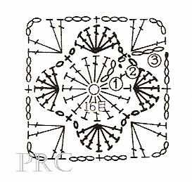 Вязание крючком. Схемы фрагментов для вязания пледов подушек и покрывал (8) (273x259, 65Kb)