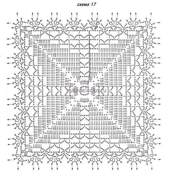 Квадратные узоры крючком схемы описание