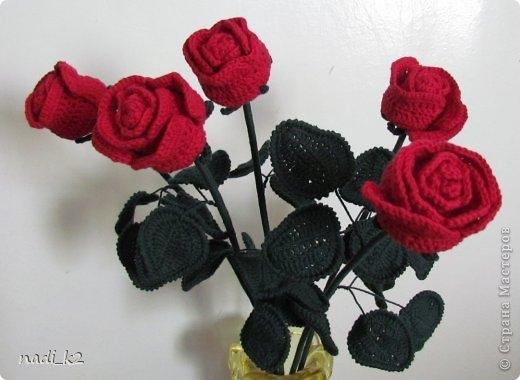 Как связать розу крючком.