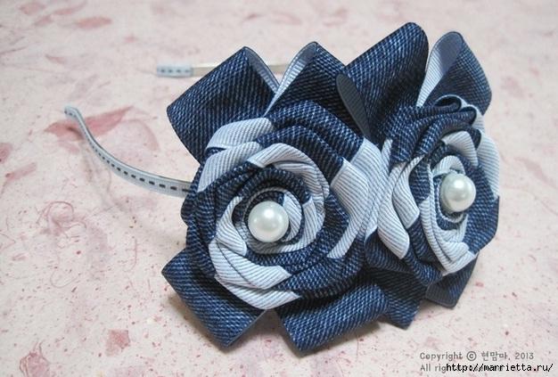 Цветы из киперной ленты, широкой тесьмы, для украшения ободка. Мастер-класс (7) (626x423, 202Kb)