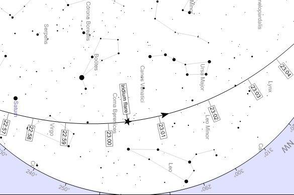 """Карта пролёта и места вспышки """"Иридиума"""" в 23:00 над Саратовом и Энгельсом."""