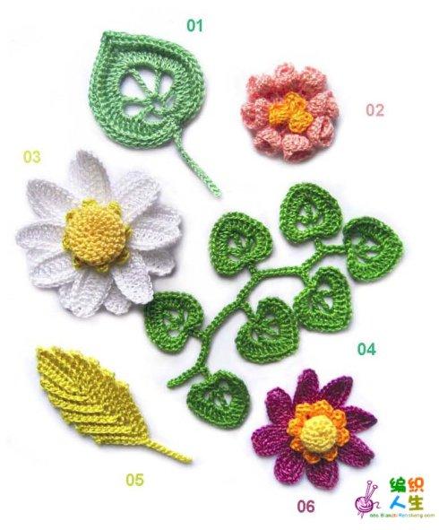 схемы вязания цветочков)