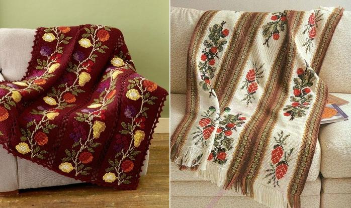 Два пледа с вышивкой.