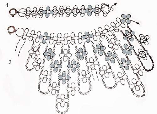 Плетение воротника из бусин