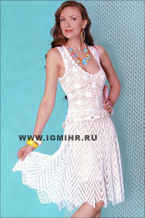 Белое ажурное платье с юбкой