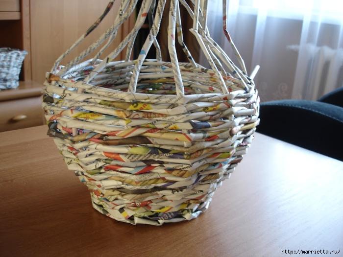 Плетение из газет. Подробный фото мастер-класс по плетению корзинки ЯБЛОЧКА (19) (700x525, 270Kb)
