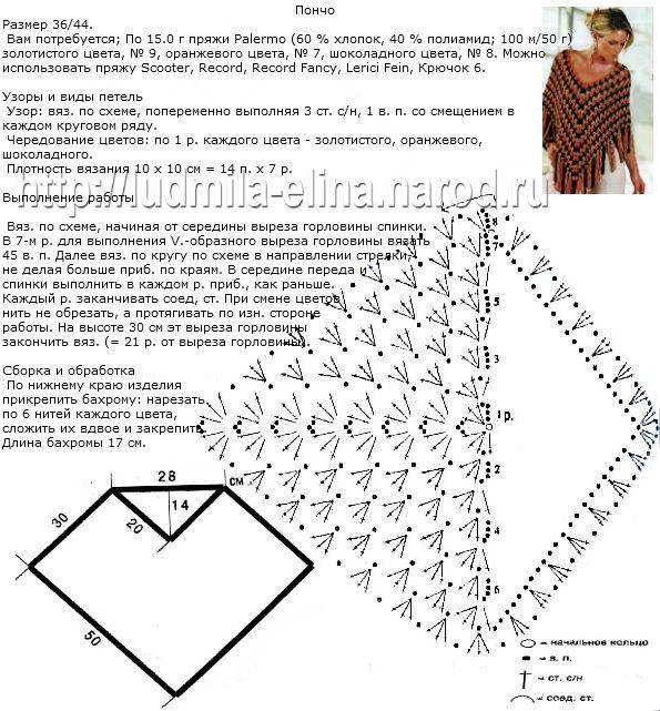 Вязаные пончо с рукавами спицами со схемами и описанием