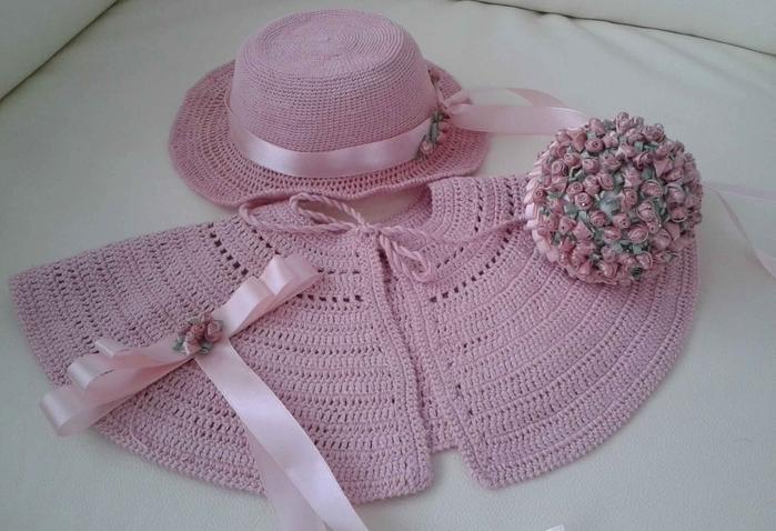розовая шляпка крючком для девочки (4) (700x478, 234Kb)