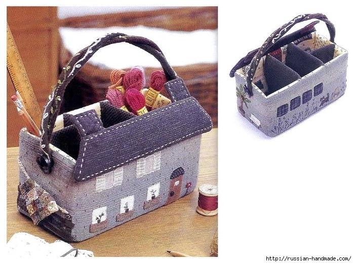 сумочка домик и скворечник из картона и ткани (1) (699x522, 260Kb)