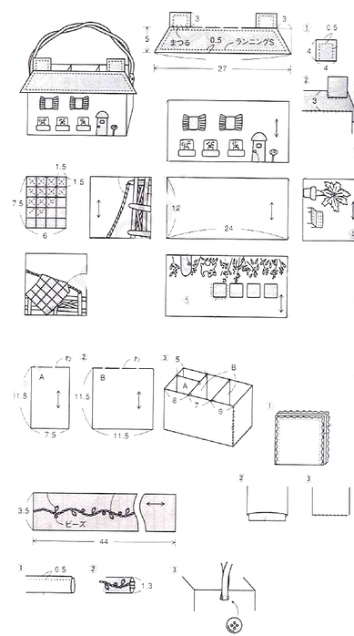 сумочка домик и скворечник из картона и ткани (5) (389x698, 119Kb)