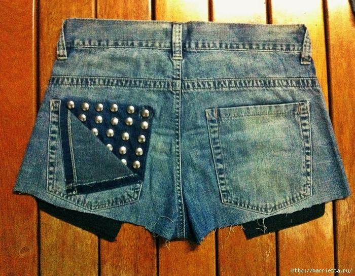 шорты из джинсов, переделка и украшение (3) (700x544, 389Kb)
