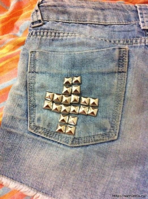 шорты из джинсов, переделка и украшение (5) (522x700, 337Kb)