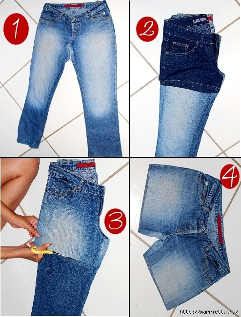 Как сделать шорты из джинсов своими руками фото