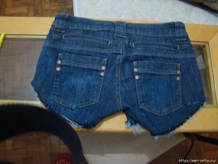 шорты из джинсов, переделка и украшение (20) (700x525, 260Kb)