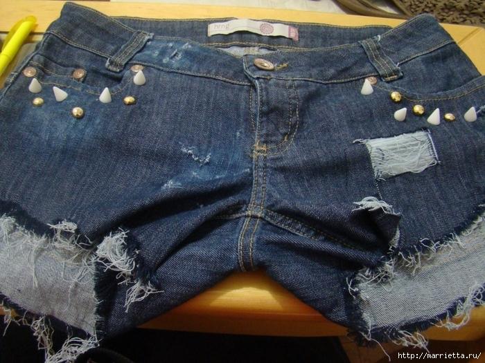 шорты из джинсов, переделка и украшение (22) (700x525, 347Kb)